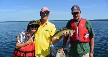 Nice Clear Lake walleye with cousin Peter and his wife Anne.